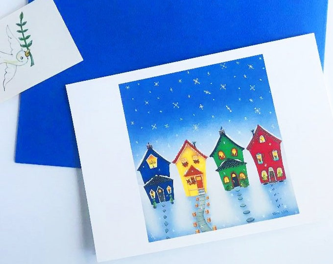 Interfaith Holiday GREETING CARD with Envelope| Celebrate the Holidays Together | Hanukkah Kwanzaa Feliz Navidad Christmas | 4 1/4 x 6 card