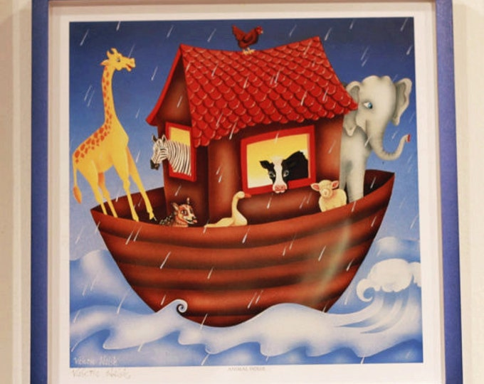 ANIMAL HOUSE Framed Art Print | Ark Themed Colorful Painting | Animal Boat Wall Art | Baby Nursery Painting | Valerie Walsh Art Work | 12x12