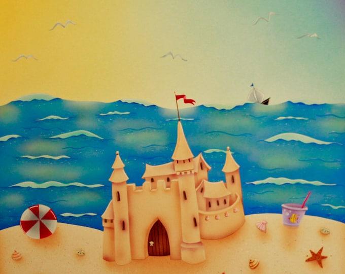 BEACH HOUSE Framed Art Print   Sand Castle Acrylic Painting   Beach Cottage Wall Art   Seaside Colorful Print   Valerie Walsh Art   12x12