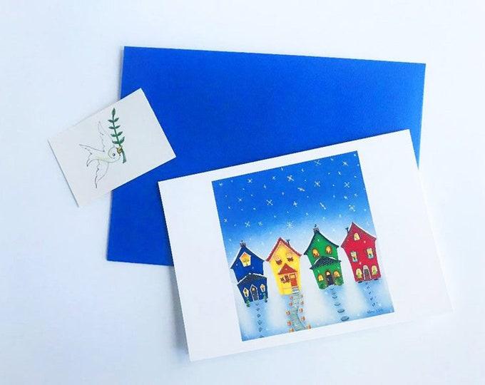 Interfaith Holiday GREETING CARD with Envelope| Celebrate the Holidays Together | Hanukkah Kwanzaa Feliz Navidad Christmas | 4 1/4 x 6 card