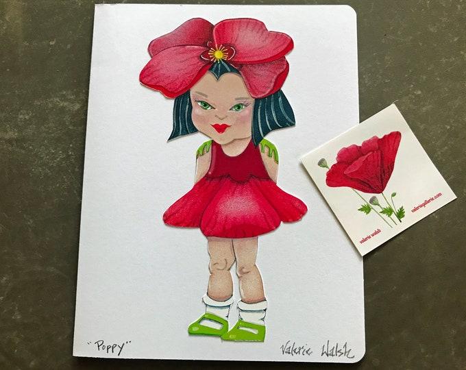 Poppy Flower Girl Card   Flower Garden Girl Greeting Card   Poppy-Flower-Girl   Blank Garden Greeting Card   Val Walsh Cards