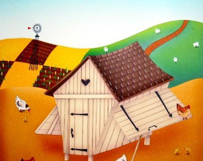 HEN HOUSE Framed Art Print   Farmhouse Painting   Rustic Wall Art   Barnyard Print   Valerie Walsh Art Work   12x12
