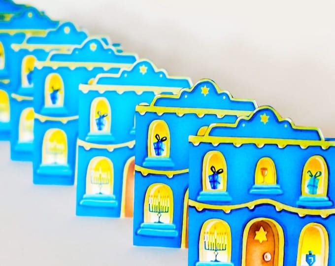 HANUKKAH CARD | Hanukkah House Greeting Card| House Shaped Card for Hanukkah | Hanukkah House Holiday Greeting Card| Valerie Walsh Cards