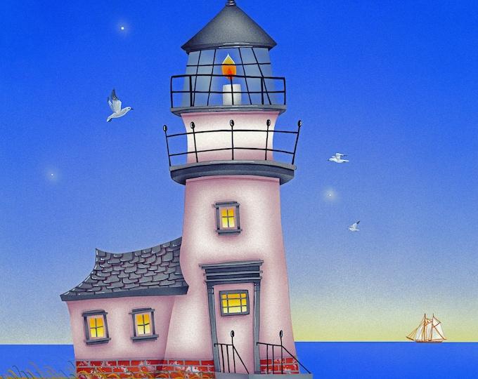 LIGHT HOUSE Framed Art Print | Light House Painting | Nautical Wall Art | Seaside Print | Beach Cottage Art | Valerie Walsh Art | 12x12