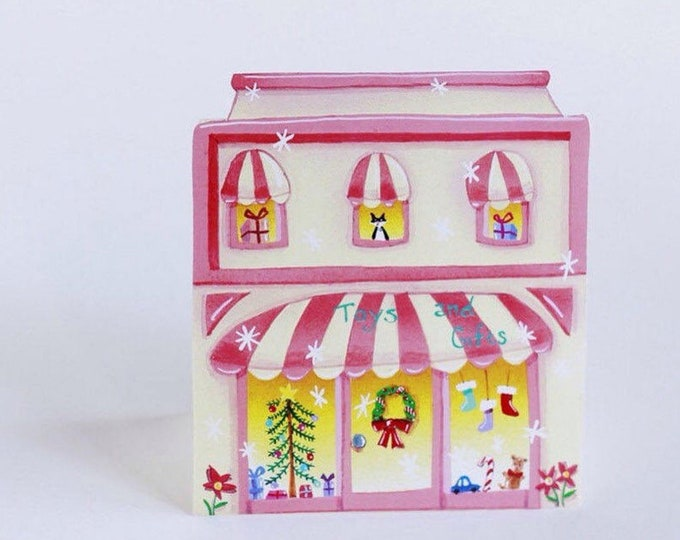 TOY STORE CHRISTMAS Holiday Cards | Little Christmas Shop Greeting Cards | Toy Store Holiday Cards | House Shaped Cards for Christmas |