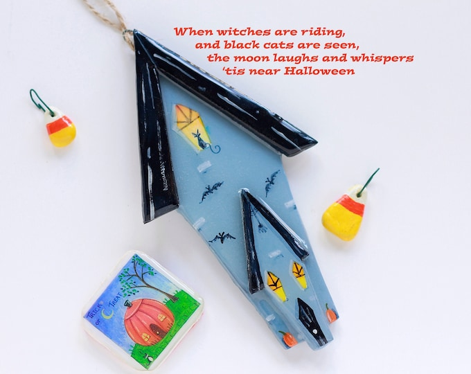 HAUNTED HOUSE ORNAMENT | Halloween Gift | Ornament for Halloween | Boo-t-full Gift | Halloween Decoration | Spooky Scary Decor | Val Walsh