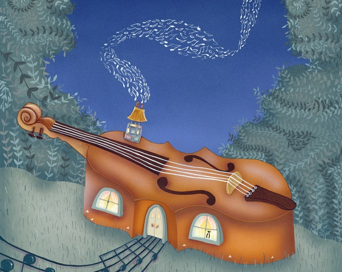 MUSIC HOUSE Framed Art Print | Music Painting | Musician Print | Musical  Wall Art | Violin House Print | Valerie Walsh | 12x12