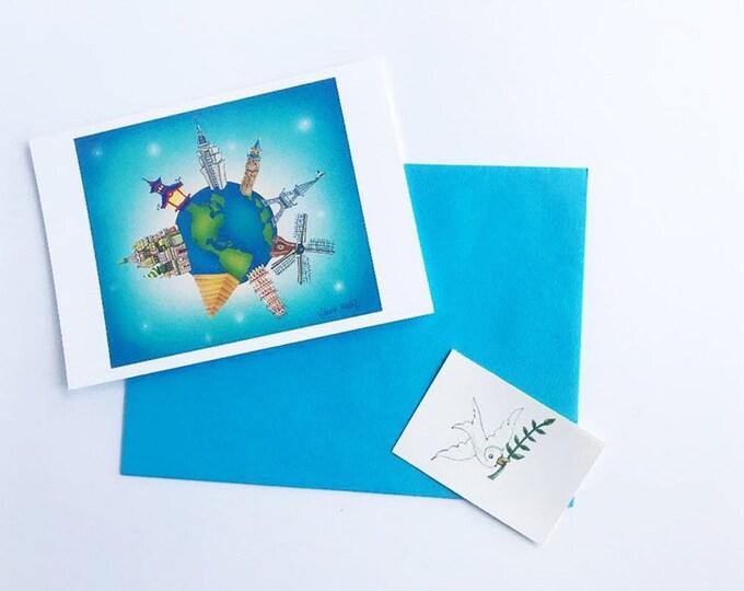 Interfaith Holiday GREETING CARD with Envelope| Peace On Earth Goodwill To All | Hanukkah Kwanzaa Feliz Navidad Christmas | 4 1/4 x 6 card
