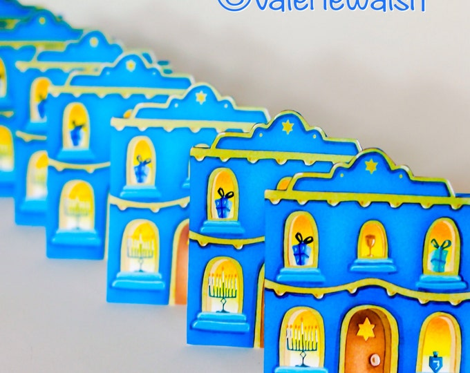 HANUKKAH CARDS | Hanukkah House Greeting Cards | House Shaped Cards for Hanukkah | Hanukkah House Holiday Greeting Card| Valerie Walsh Cards