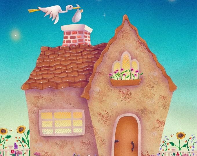HOME DELIVERY Framed Art Print | Home Birth Framed Print | New Baby Wall Art | Baby Nursery Print | Valerie Walsh Art | 8x10 |12x12