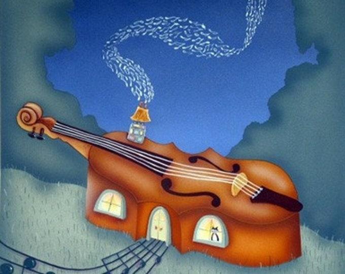 MUSIC HOUSE Framed Art Print | Music Painting | Musician Print | Musical  Wall Art | Violin House Print | Valerie Walsh | 12x12