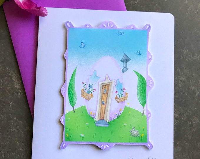 Easter Egg House Card  |   Easter Card | Kitty-Bunny-Easter Egg House | Cut out- Dimensional- Blank Spring Card | Valerie Walsh Cards