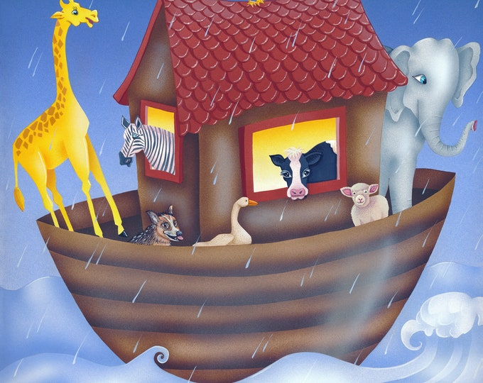ANIMAL HOUSE Framed Art Print   Ark Themed Colorful Painting   Animal Boat Wall Art   Baby Nursery Painting   Valerie Walsh Art Work   12x12