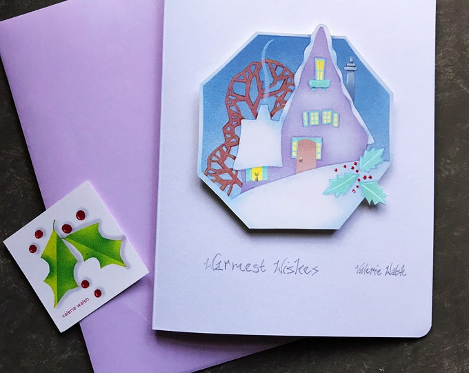 Holiday Handmade GREETING CARD with Lavender Envelope| Cut out Dimensional Hexagon |Warmest Wishes | Christmas Card | 5 x 7 card