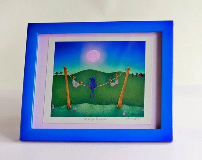 HANGING AROUND Framed Art Print | Kitty Nature Painting |  Laundry Room Print | Nature Print | Laundry Room Wall Art | Valerie Walsh | 8x10