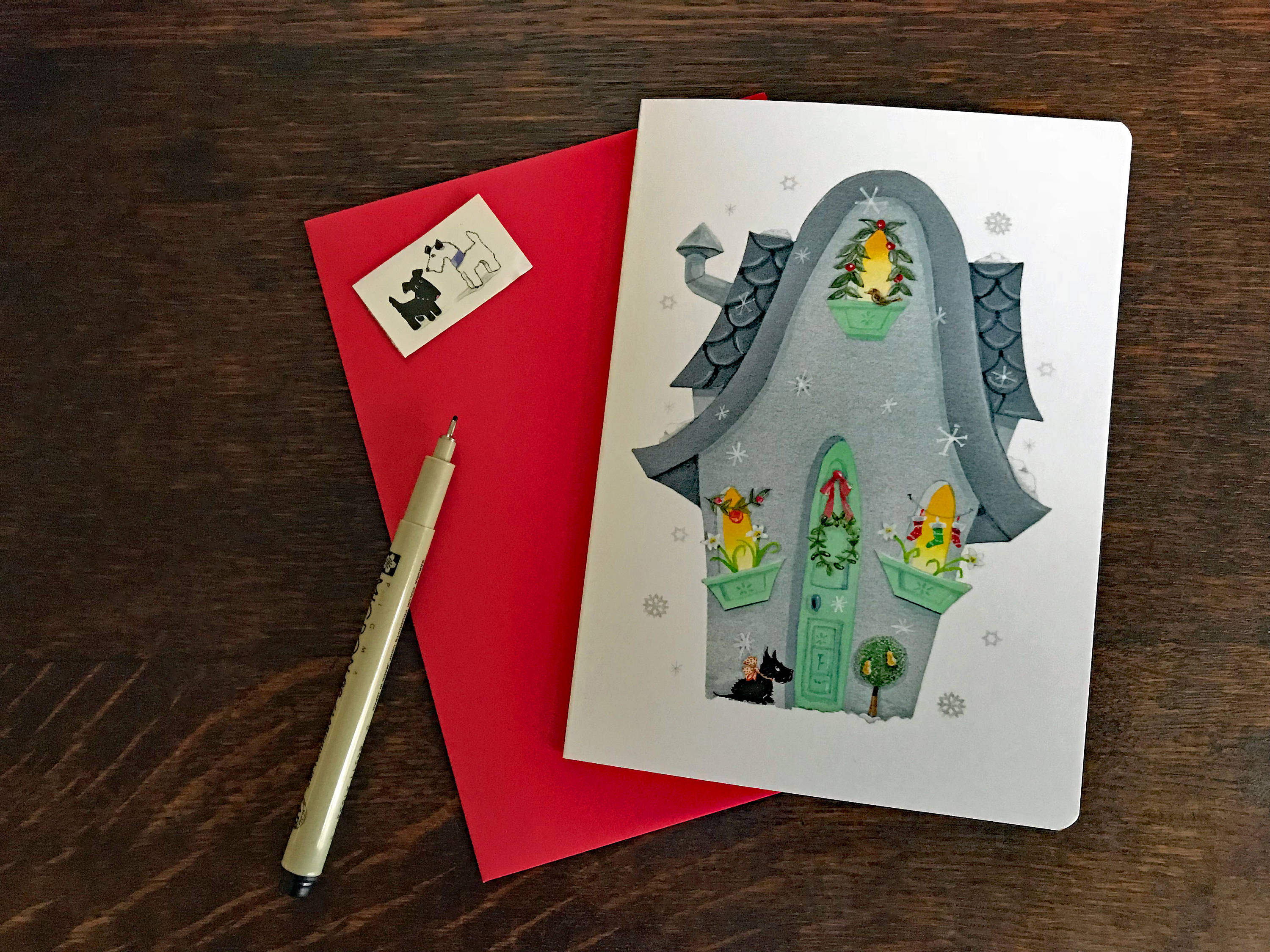 FALLING SNOWFLAKES Blank CARD with Scottie | Christmas Card ...
