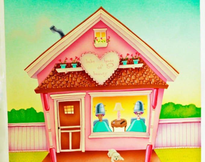 HOUSE OF BEAUTY Framed Art Print | Beauty Parlor Painting | Hair Salon Wall Art | Country Hair Salon Print | Valerie Walsh Art Work | 12x12