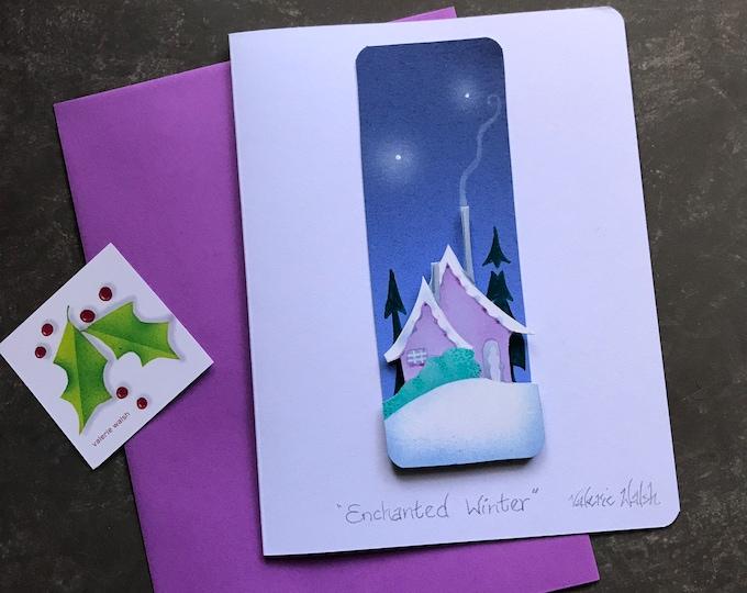 Enchanted Winter Hand Painted Blank CARD | Christmas Card | Holiday Greetings Postal Card |Hanukkah Greetings | Valerie Walsh Greeting Card