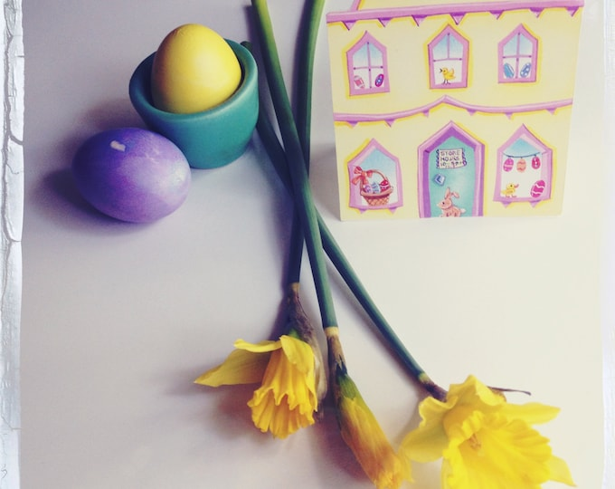 EASTER GREETING CARD | Little Easter House Greeting Card | House Shaped Card for Easter |Easter Themed Card \ Valerie Walsh Greeting Cards