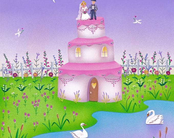 HOME BAKED Framed Art PRINT | Wedding Painting | Floral Wall Art | Wedding Cake Print | Love and Flowers |  Valerie Walsh Art Work | 12x12