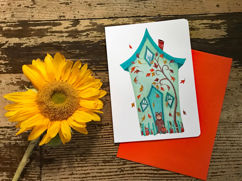 Falling Leaves Blank Card Trick Or Treat Greeting Card Halloween