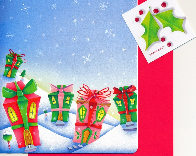Home for the Holidays Stationery and Greeting Cards | 5 pieces of Winter Stationery 5 envelopes & 2 Christmas Cards  Matching Envelopes