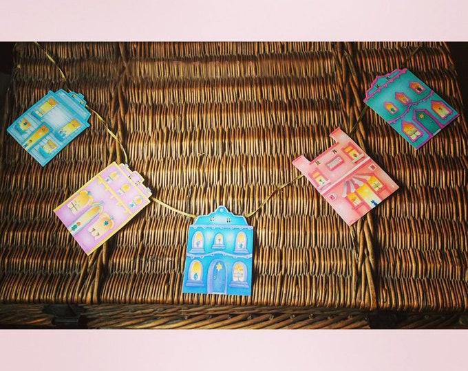 HANUKKAH HOMES GARLAND | Hanukkah Banner | Hanukkah Garland | House Shaped Holiday Homes for Hanukkah | Valerie Walsh Greetings and Garlands