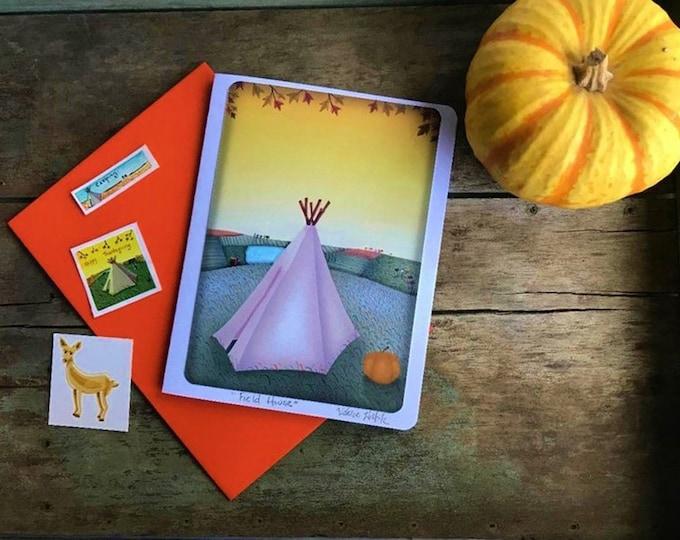 Thanksgiving Card | Friendship Greeting Card | Fall Holiday Postal Card |  | Autumnal Greeting Card | Teepee Art