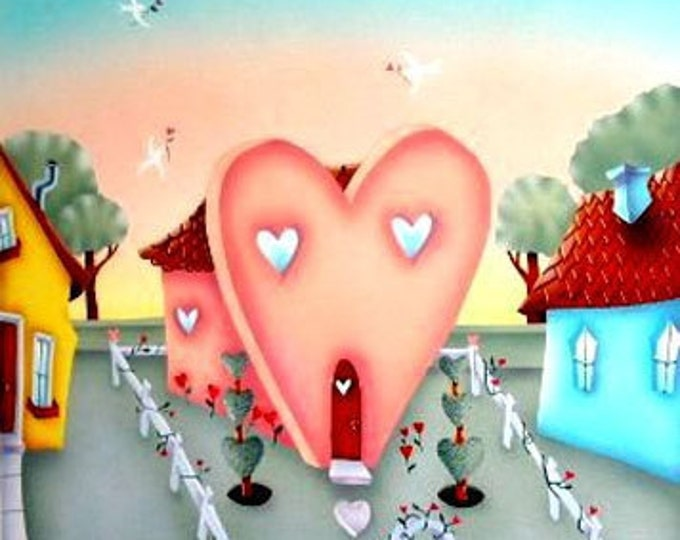HOUSE OF LOVE Framed Art Print | Love themed Acrylic Painting | Heart Shaped House Wall Art | Colorful Print | Valerie Walsh Art | 12x12
