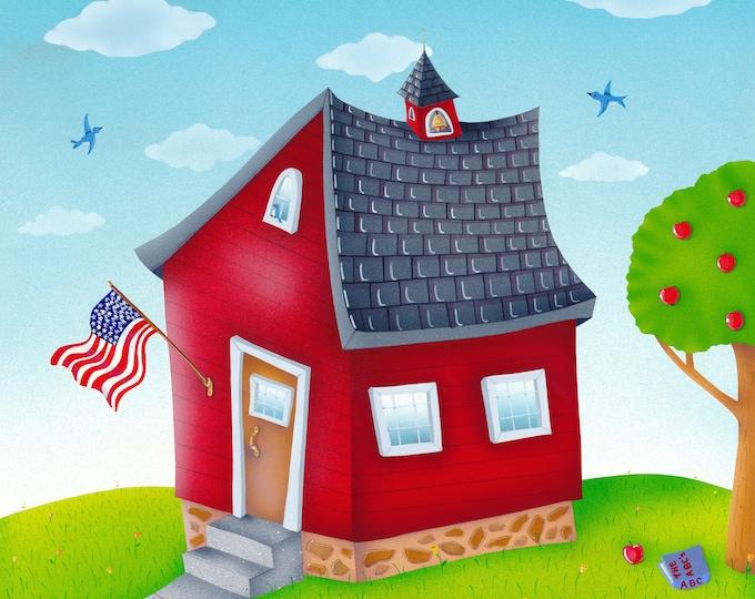 SCHOOL HOUSE Framed Art Print | Home School Painting | Class Room Wall Art | Teachers Pet Print | Valerie Walsh Art Work | 12x12