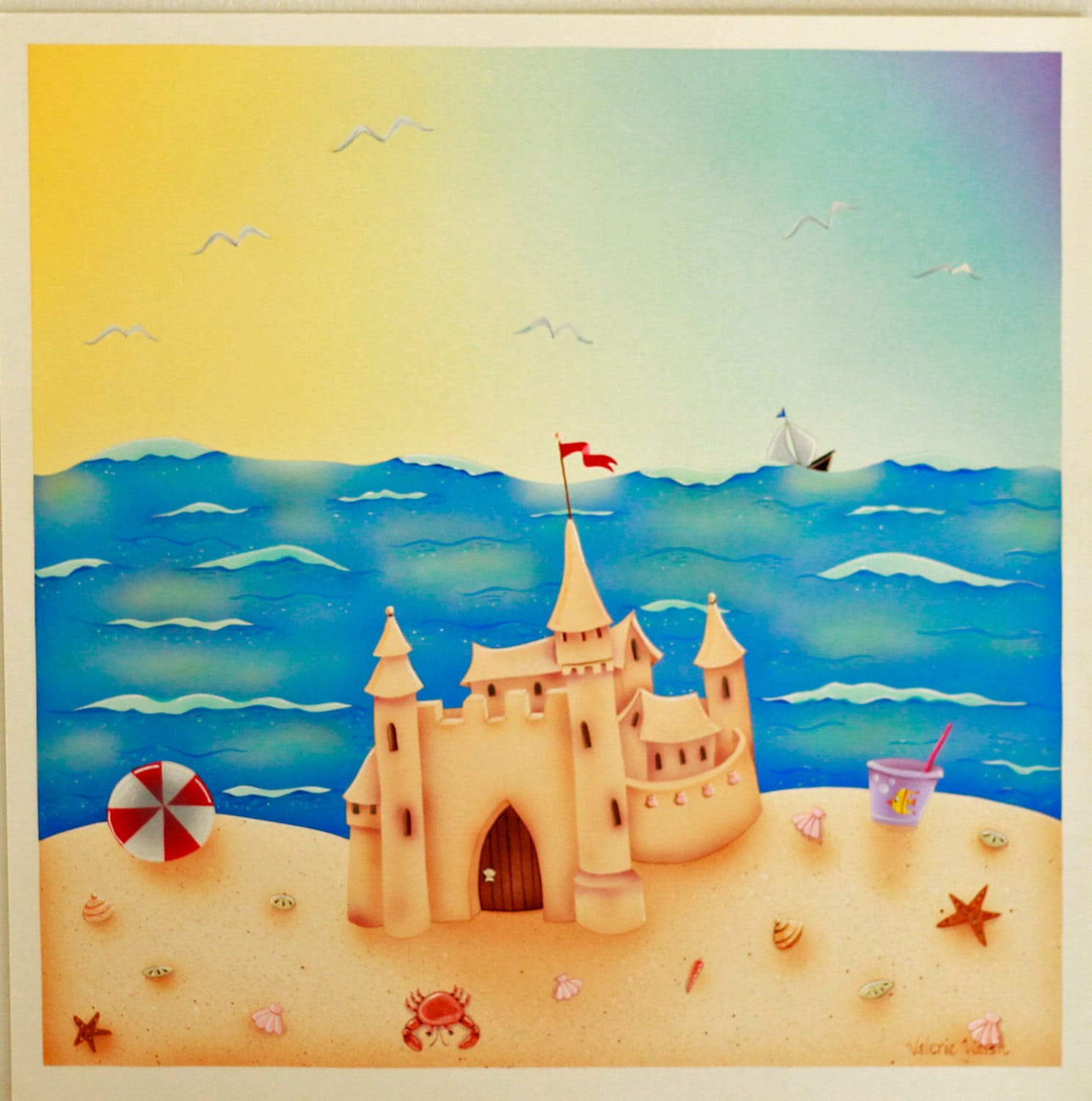 BEACH HOUSE Framed Art Print | Sand Castle Acrylic Painting | Beach ...