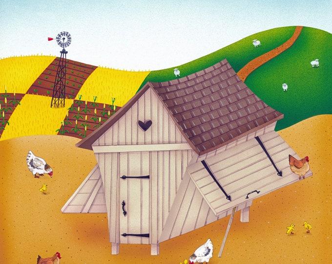 HEN HOUSE Framed Art Print | Farmhouse Painting | Rustic Wall Art | Barnyard Print | Valerie Walsh Art Work | 12x12