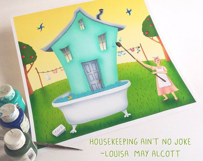 BATH HOUSE Framed Art Print   Laundry Room Painting   Laundry Wall Art   Bath Tub Print   Spring Cleaning Art   Valerie Walsh   12x12