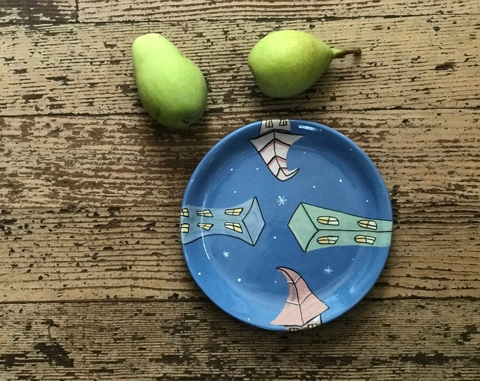Starmakers Hand made Ceramic Plate | Buildings in the Stars Pottery | Stars and Buildings Clay Plate | Valerie Walsh Ceramics