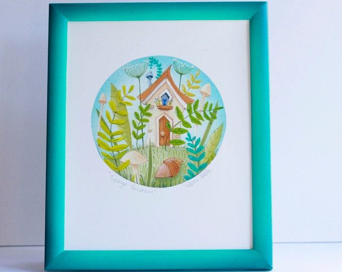 TOPANGA TERRARIUM Framed Print | Nature Print | Rustic Wall Art | Cottage in the Woods Framed Art Print | Valerie Walsh Art Work | 8x10