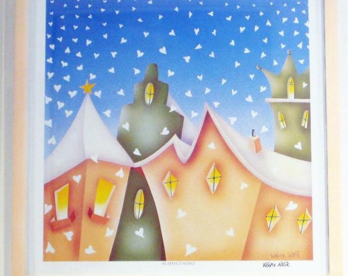 HEARTFELT HOMES Framed Print | Snowy Village Painting | Holiday Wall Art | Snowy Winter Print | Valerie Walsh Art Work | 12x12