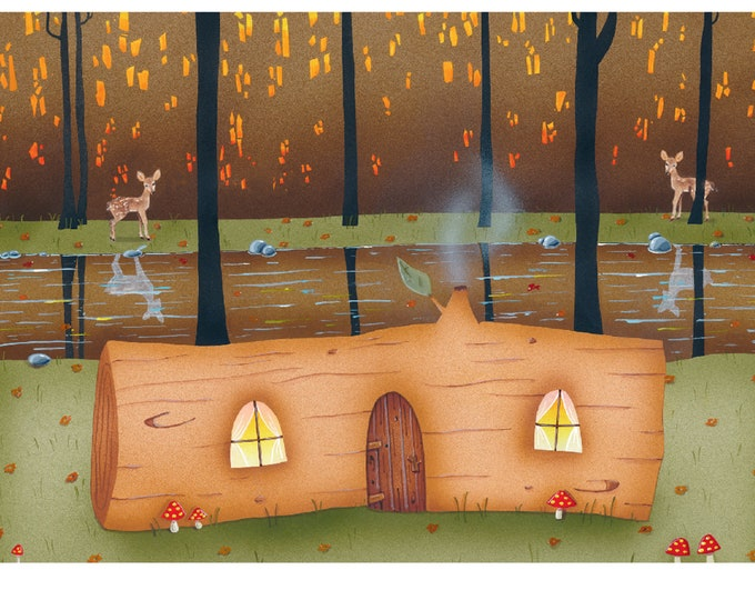LOG HOME Blank Greeting Card | Colorful Forest Greeting Card | Friendship Greeting Card | Woodland Postal Card | Valerie Walsh Greeting Card