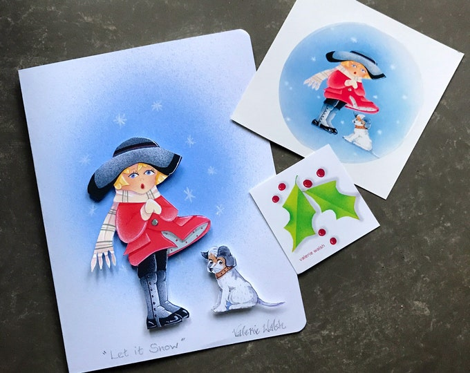 Let It Snow 3-d  Hand Painted Blank CARD | Christmas Card | Holiday Greetings Postal Card | Valerie Walsh Greeting Card