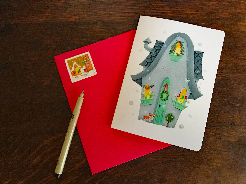 FALLING SNOWFLAKES Blank CARD with Corgi | Christmas Card | Holiday ...