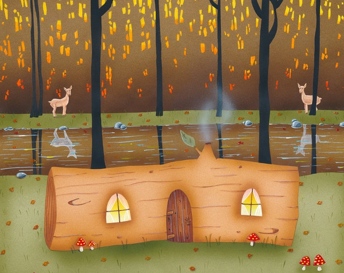LOG HOME Framed Art Print | Colorful Forest Framed Art Print | Woodland Wall Art |  Happy Log Cabin Print | Valerie Walsh Art | 8x10 | 12x12