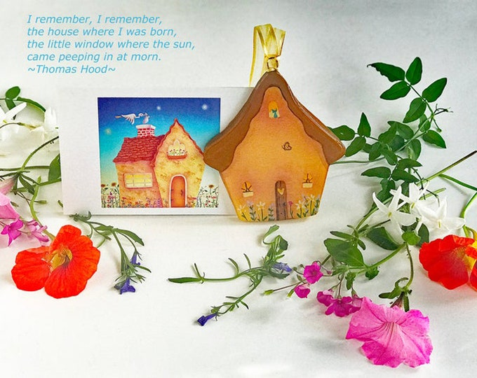 HOME DELIVERY mini Baby Card and Cottage Ornament | New Baby Gift  | Keepsake Baby Gift | Home Birth Present | Valerie Walsh Art Work