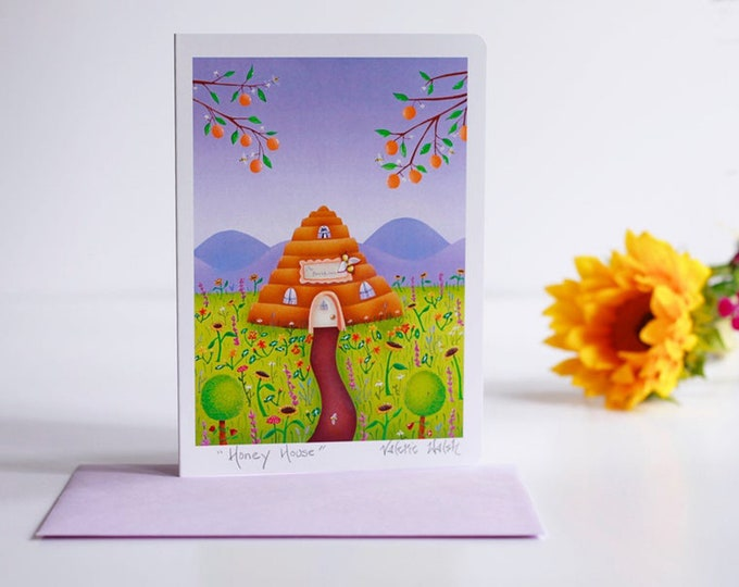 Honey House Greeting Card with Envelope  Flowers and Bees Card   Gardeners Greeting Cards   Floral themed Cards   Friendship Cards