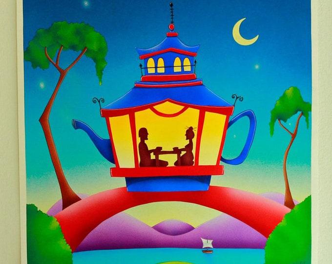 TEA HOUSE Framed Art Print   Colorful Acrylic Painted Tea House   Teapot shaped Pagoda Print   Tea Pot Wall Art   Valerie Walsh Art   12x12