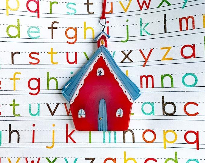 Little Red SCHOOL HOUSE ORNAMENT | Teacher's Pet Gift | Ornament for Teachers | Teacher Appreciation Gift | Back to School Decoration