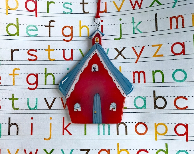 Little Red SCHOOL HOUSE ORNAMENT | Teacher's Pet Gift | Ornament for Teachers | Teacher Appreciation Gift | Back to School Decoration
