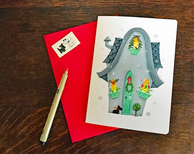 Falling Snow Flakes  Blank Holiday CARD  with Scottie| Christmas Card | Holiday Greetings Postal Card | Dog-Snow-Christmas Card- Val Walsh