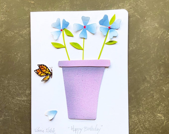 Hand painted cut paper FLORAL Greeting Card  | One of a kind Floral greeting card | Flowers and Butterfly Card | Valerie Walsh Cards |