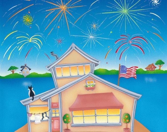 HOUSE BOAT Framed Art Print |  House Boat Painting | Nautical Wall Art | Boat House Sailing Print | Valerie Walsh Art Work | 12x12