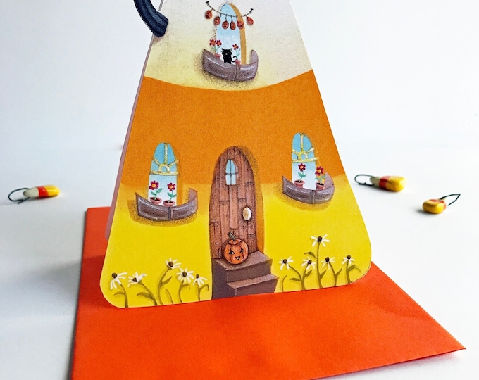 Candy Corn Cottage GREETING CARD | Candy Corn-Pumpkin-Fall Cottage Greeting Card | House Shaped Card |  Card | Valerie Walsh  Cards