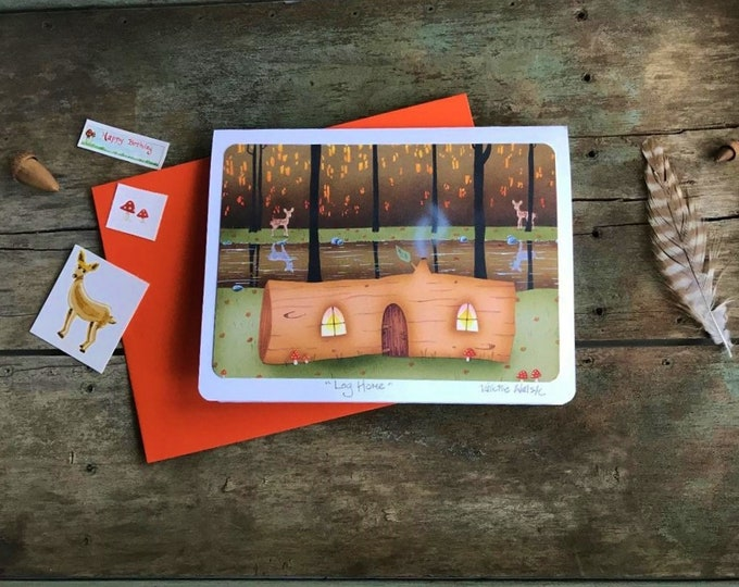 LOG HOME Greeting Card | Colorful Forest Postal Card | Woodland Greetings |  Happy Log Cabin Card | Valerie Walsh Art Work | 5 x 7
